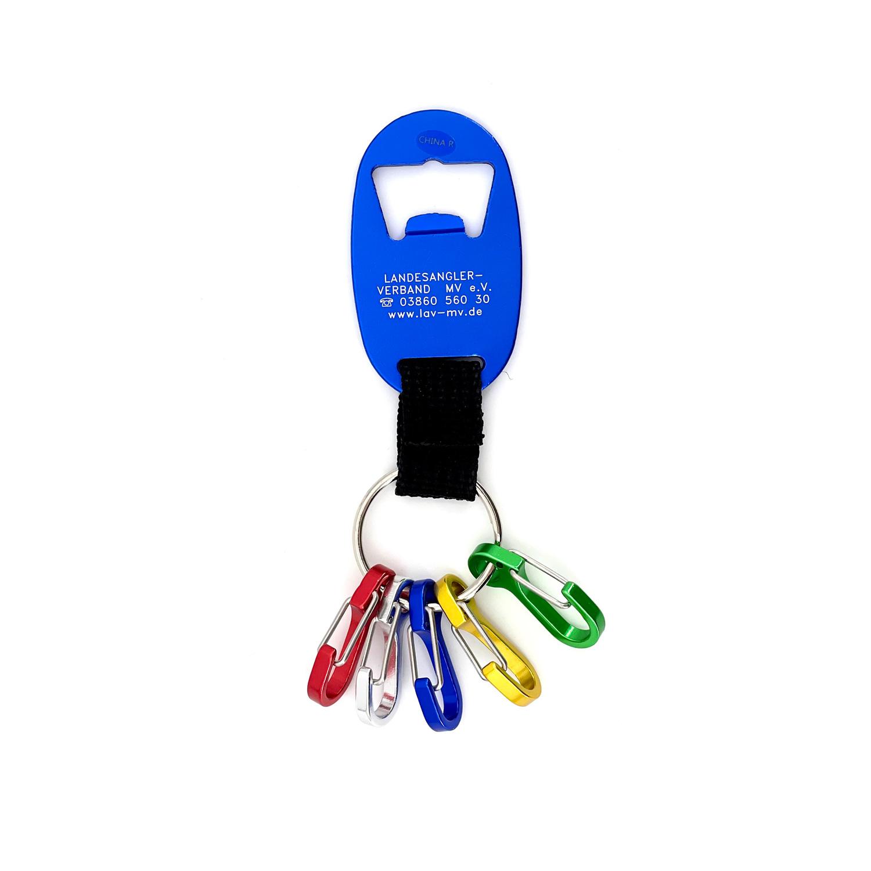 Schlüsselanhänger mit Mini-Karabinerhaken und Lasergravur LAV M-V e.V.